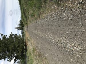 Loose gravel on the Kettle Valley Trail