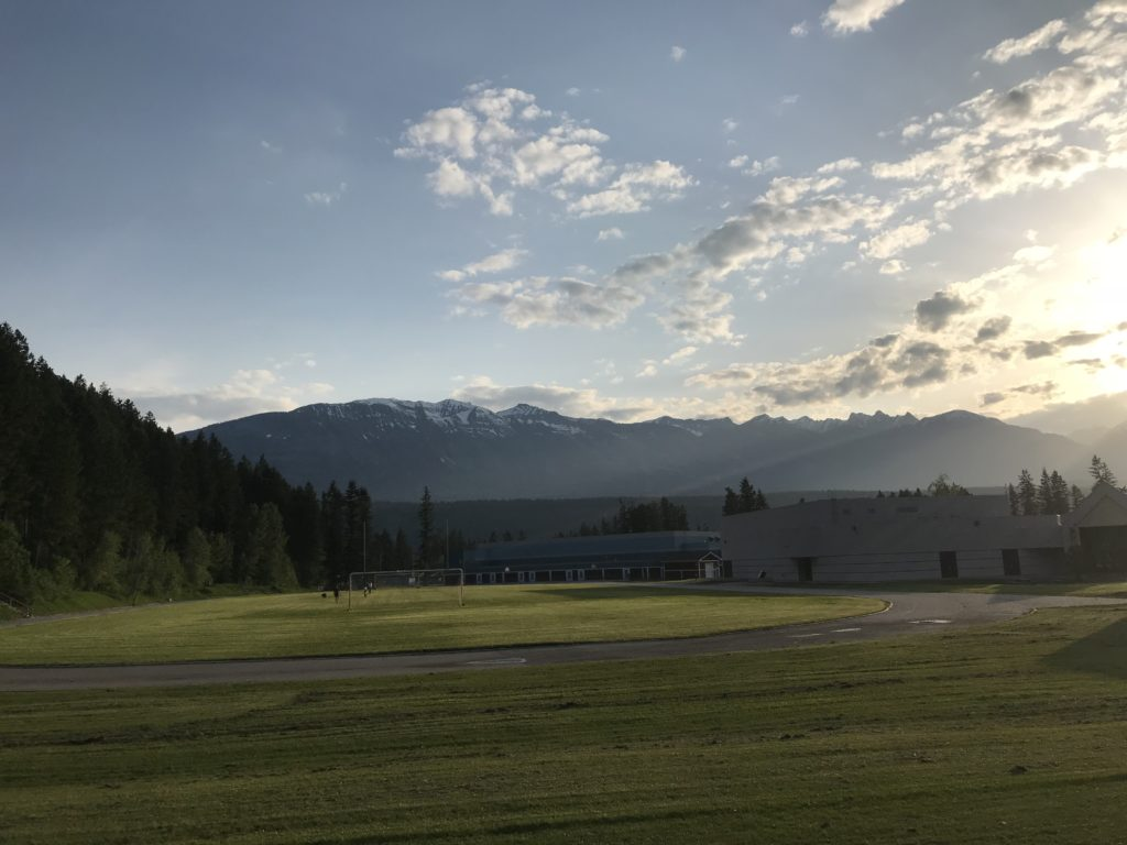 The sun setting over the Columbia Mountains in Golden, BC