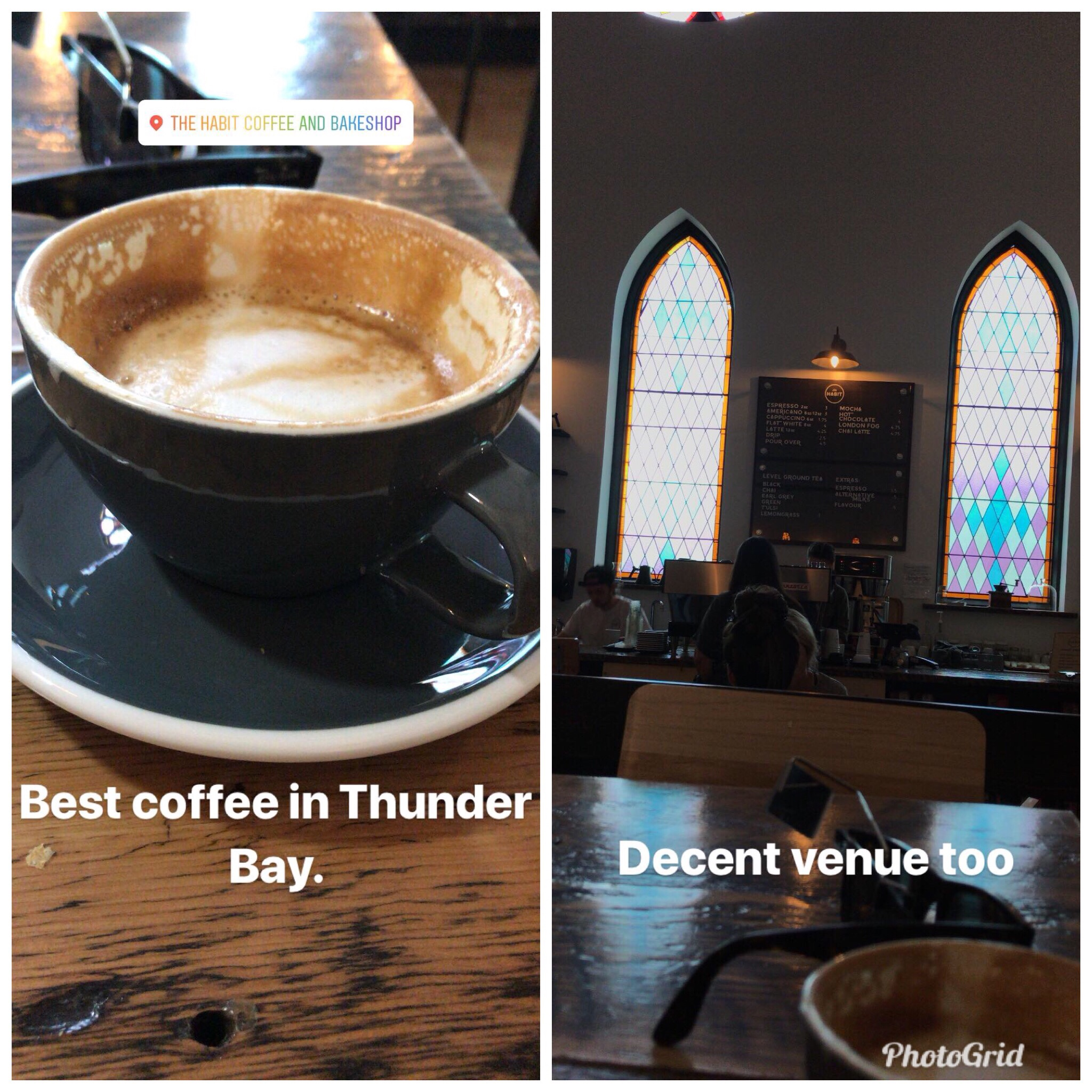 A split window picture with a cappuccino on the left and stained glass windows from an old church on the right