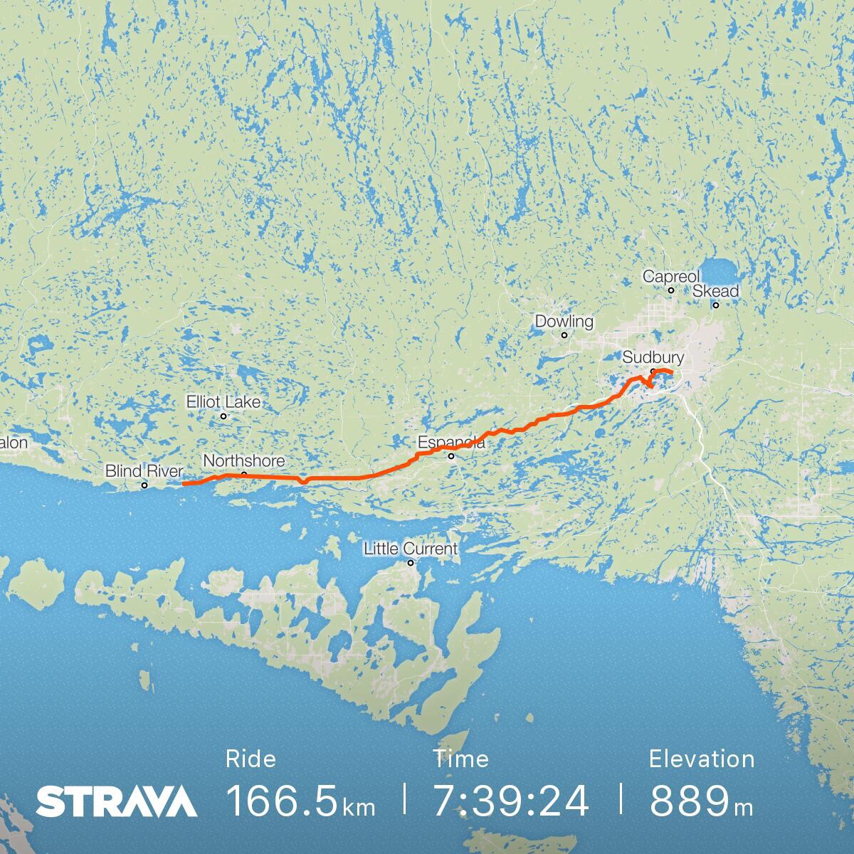 A map of the ride from Algoma Mills to Sudbury