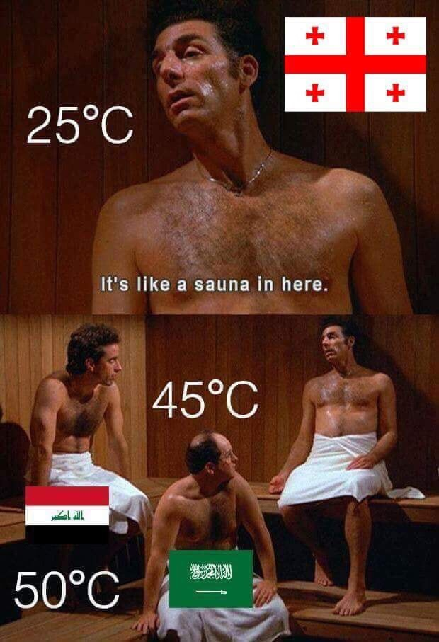"""A Seinfeld comic where they are sitting in a sauna, sweating. Jerry says """"it feels like a sauna in here."""""""