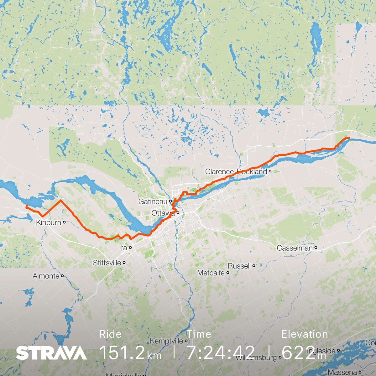 Today's route from Arnprior to Montebello via Ontario Highway 5 and Quebec Highway 148