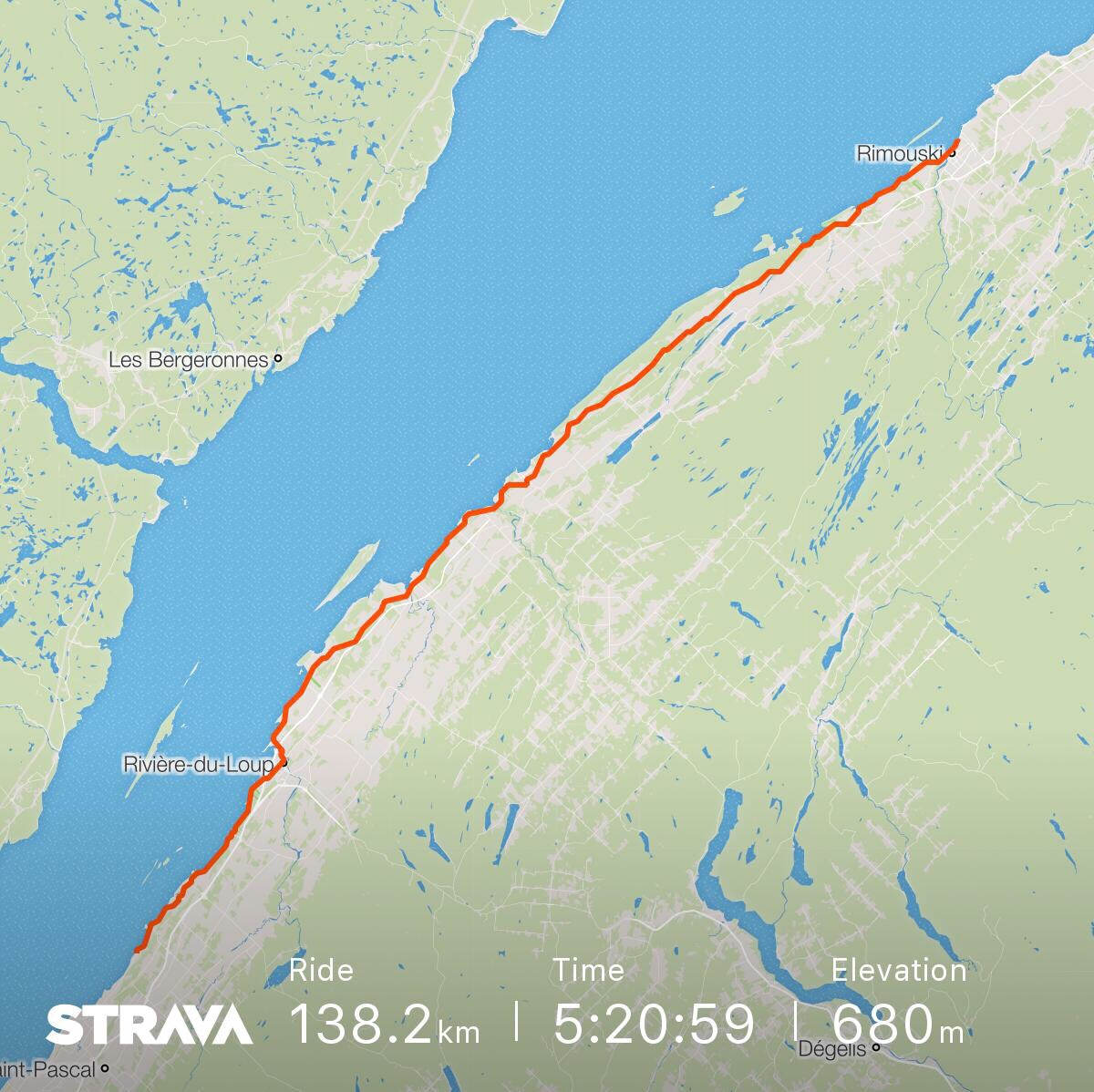 The route from south of Rivière du Loup to Rimouski